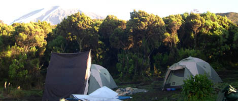Mweka camp with Kili in the background
